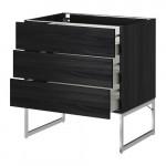 METHOD / MAXIMER Npln shk 3 frnt / 3 middle drawer - for wood black, Thingsried for wood black, 80x60x60 cm