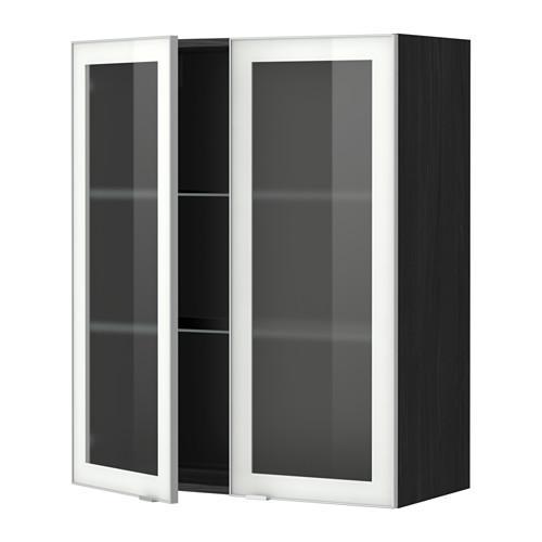 МЕТОД Навесной шкаф с полками/2 стекл дв - 80x100 см, Ютис матовое стекло/алюминий, под дерево черный