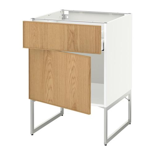 МЕТОД / МАКСИМЕРА Напольный шкаф с ящиком/дверью - 60x60x60 см, Экестад дуб, белый