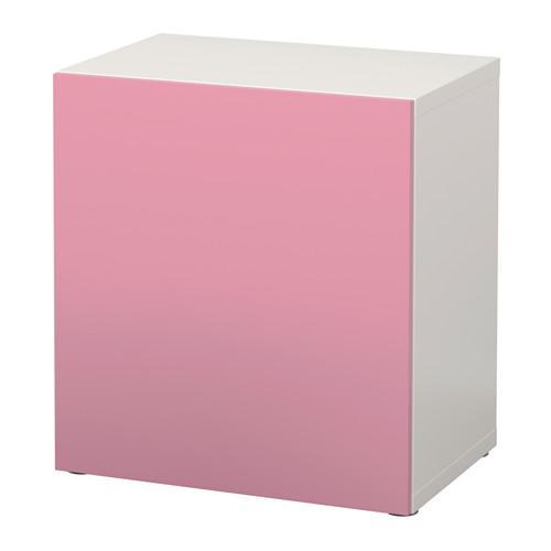 БЕСТО Стеллаж с дверью - белый/Лаппвикен розовый