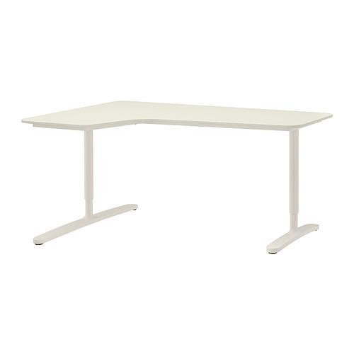 БЕКАНТ Углов письм стол левый - белый
