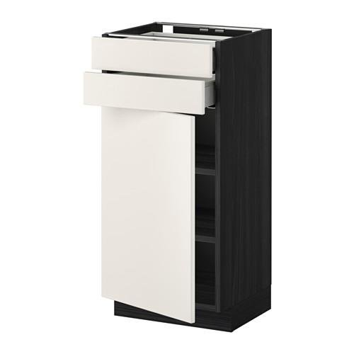 МЕТОД / МАКСИМЕРА Напольный шкаф с дверцей/2 ящиками - 40x37 см, Веддинге белый, под дерево черный