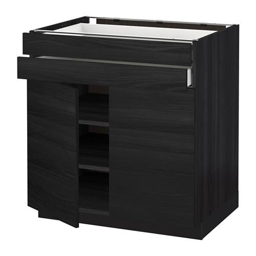 МЕТОД / МАКСИМЕРА Напольный шкаф/2дверцы/2ящика - 80x60 см, Тингсрид под дерево черный, под дерево черный