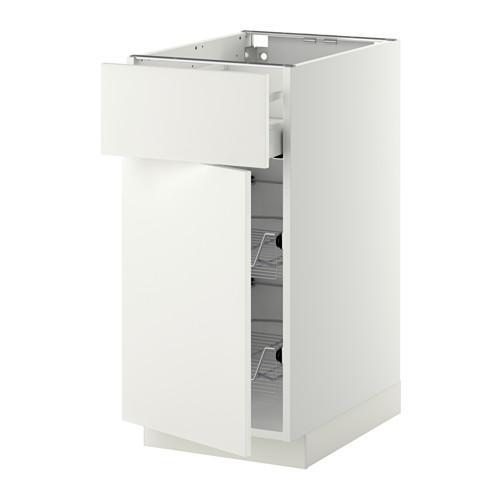 МЕТОД / МАКСИМЕРА Напольн шкаф с пров корз/ящ/дверью - 40x60 см, Хэггеби белый, белый