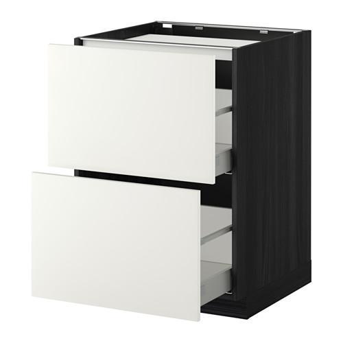 МЕТОД / МАКСИМЕРА Напольн шкаф/2фронт пнл/3ящика - 60x60 см, Хэггеби белый, под дерево черный