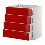 МЕТОД / ФОРВАРА Напольн шкаф 4 фронт панели/4 ящика - 80x60 см, Рингульт глянцевый красный, белый