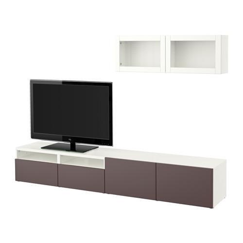 Ikea Tv Meubel Combinatie.Besta Tv Meubel In Combinatie Glazen Deur Wit Valviken