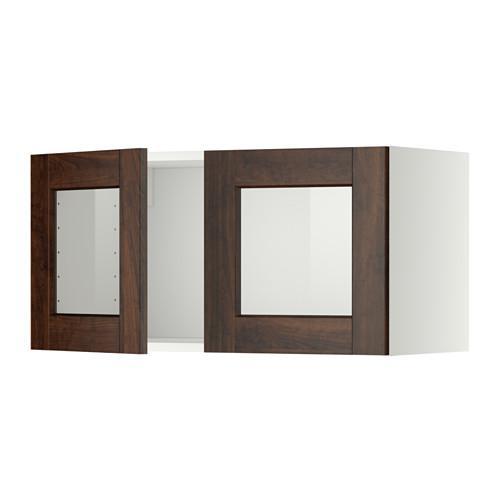 МЕТОД Навесной шкаф с 2 стеклянн дверями - белый, Эдсерум под дерево коричневый