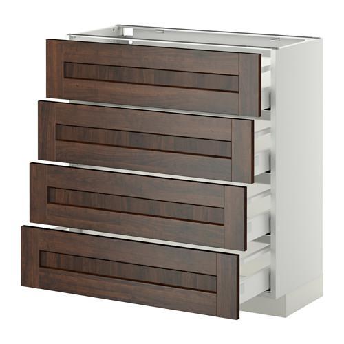 МЕТОД / МАКСИМЕРА Напольн шкаф 4 фронт панели/4 ящика - 80x37 см, Эдсерум под дерево коричневый, белый
