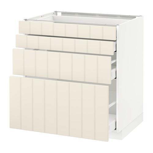 МЕТОД / МАКСИМЕРА Напольн шкаф 4 фронт панели/4 ящика - 80x60 см, Хитарп белый с оттенком, белый