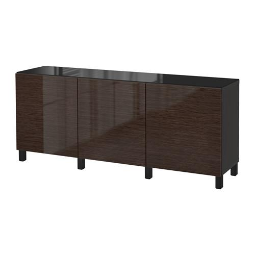 БЕСТО Комбинация для хранения с дверцами - черно-коричневый/Сельсвикен глянцевый/коричневый