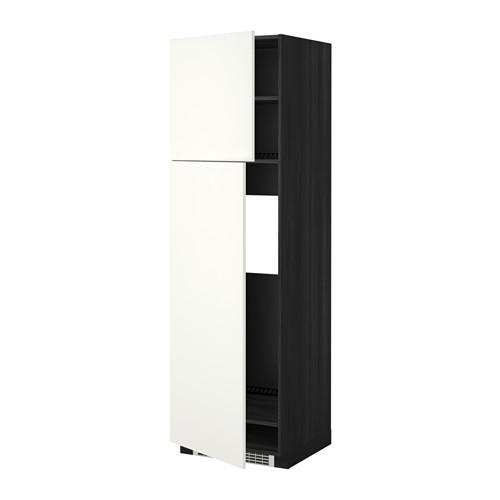 МЕТОД Высокий шкаф д/холодильника/2дверцы - 60x60x200 см, Хэггеби белый, под дерево черный