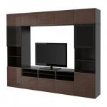 BESTÅ cabinet TV COMBINED / glass door - black-brown / high-gloss Selsviken / brown smoked glass, drawer guides, push