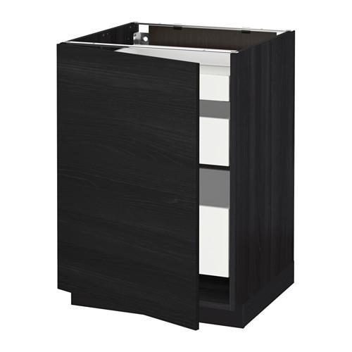 МЕТОД / МАКСИМЕРА Напольный шкаф с 1двр/3ящ - 60x60 см, Тингсрид под дерево черный, под дерево черный