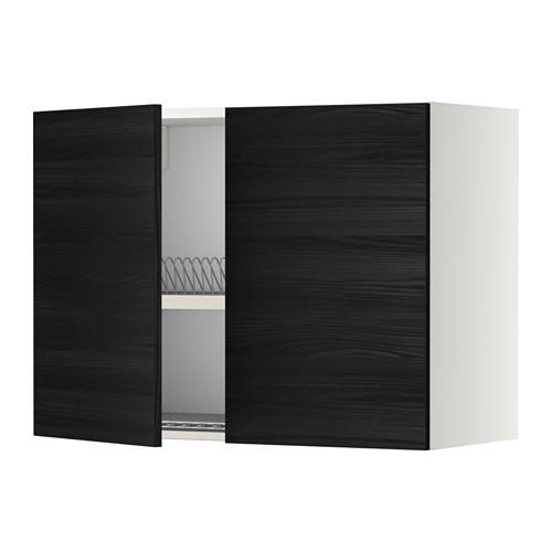 МЕТОД Навесной шкаф с посуд суш/2 дврц - 80x60 см, Тингсрид под дерево черный, белый