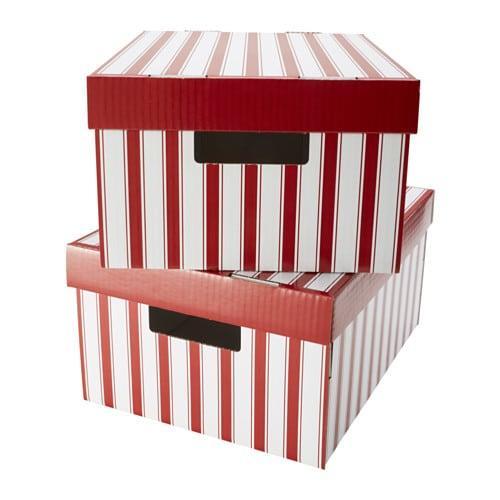 ПИНГЛА Коробка с крышкой - полоска белый/красный