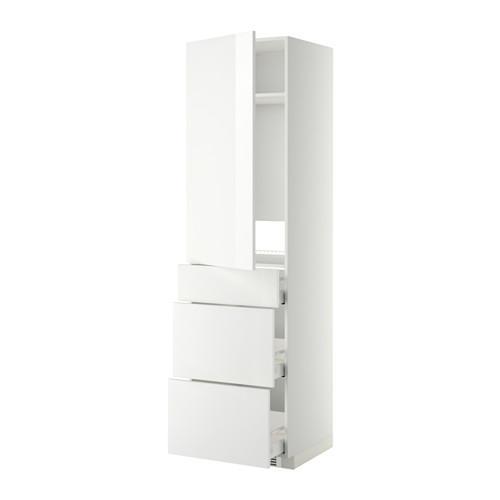 МЕТОД / МАКСИМЕРА Выс шкаф д/холодильн, с дврц/3 ящ - Рингульт глянцевый белый, белый