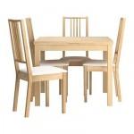 БЬЮРСТА/БЁРЬЕ Стол и 4 стула - , береза/Гобо белый, 90 см