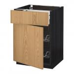 МЕТОД / МАКСИМЕРА Напольн шкаф с пров корз/ящ/дверью - 60x60 см, Экестад дуб, под дерево черный