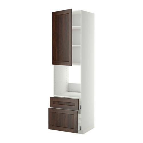 МЕТОД / МАКСИМЕРА Высок шкаф д духов+дверь/2 ящика - 60x60x220 см, Эдсерум под дерево коричневый, белый