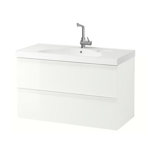 GODMORGON / EDEBOVIKEN armadietto affonda con cassetti 2 - lucido bianco