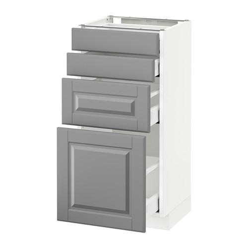 МЕТОД / МАКСИМЕРА Напольн шкаф 4 фронт панели/4 ящика - 40x37 см, Будбин серый, белый
