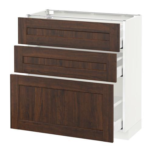 МЕТОД / МАКСИМЕРА Напольный шкаф с 3 ящиками - белый, Эдсерум под дерево коричневый, 80x37 см