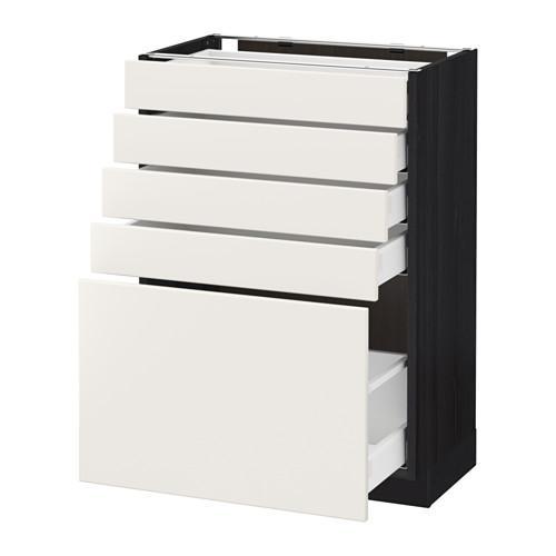 МЕТОД / МАКСИМЕРА Напольный шкаф с 5 ящиками - 60x37 см, Веддинге белый, под дерево черный