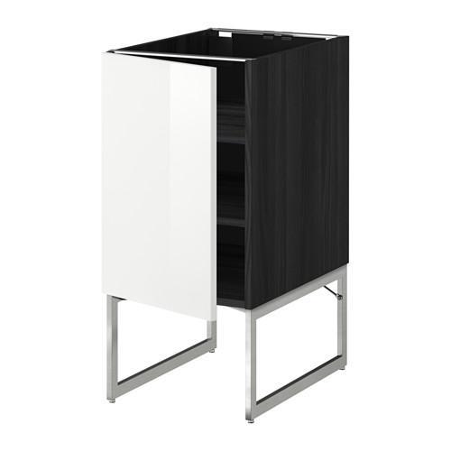 МЕТОД Напольный шкаф с полками - 40x60x60 см, Рингульт глянцевый белый, под дерево черный