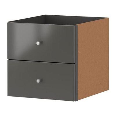 Kotak EXPEDIT dengan kotak 2 - kelabu berkilat
