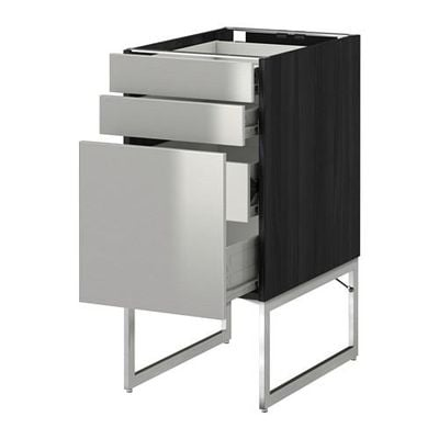 METHOD / FORVARA Base cabinet 3front PNL / 2niz / 2sr drawers - 40x60x60 cm Grevsta stainless steel, wood black