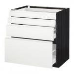 МЕТОД / МАКСИМЕРА Напольн шкаф 4 фронт панели/4 ящика - под дерево черный, Воксторп белый, 80x60 см