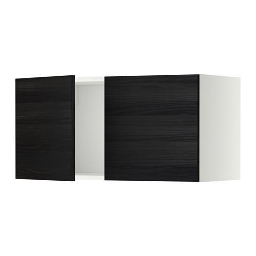 МЕТОД Навесной шкаф с 2 дверями - Тингсрид под дерево черный, белый