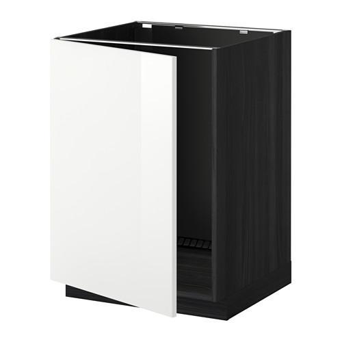 МЕТОД Напольный шкаф для раковины - Рингульт глянцевый белый, под дерево черный