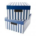 scatola Pingle con un coperchio - una striscia di bianco / blu