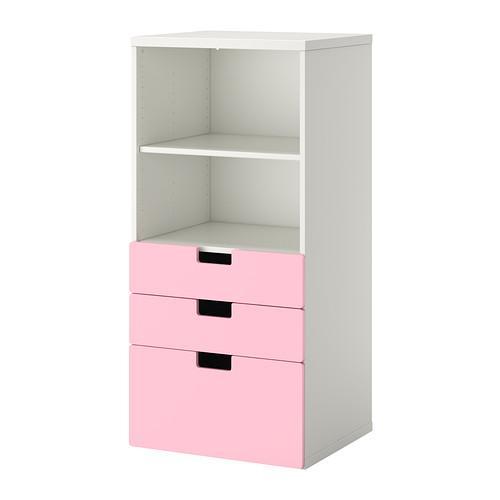 СТУВА Комбинация для хранения с ящиками - белый/розовый
