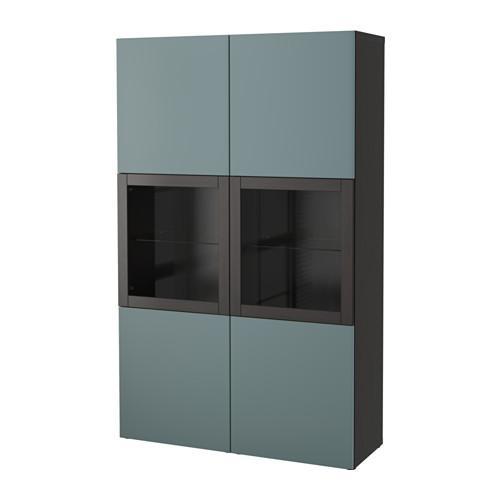 БЕСТО Комбинация д/хранения+стекл дверц - черно-коричневый/Вальвикен серо-бирюзовый, прозрачное стекло