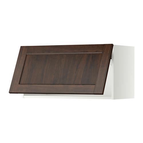 МЕТОД Горизонтальный навесной шкаф - 80x40 см, Эдсерум под дерево коричневый, белый