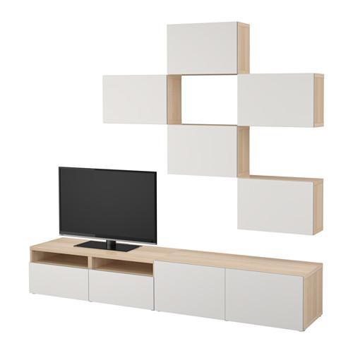 BESTO TV kabinet, kombination under bleget eg / Lappviken lysegrå ...
