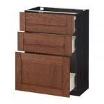 МЕТОД / ФОРВАРА Напольный шкаф с 3 ящиками - 60x37 см, Филипстад коричневый, под дерево черный