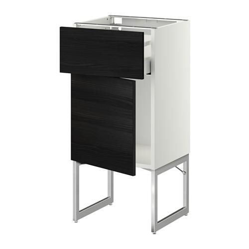 МЕТОД / МАКСИМЕРА Напольный шкаф с ящиком/дверью - 40x37x60 см, Тингсрид под дерево черный, белый