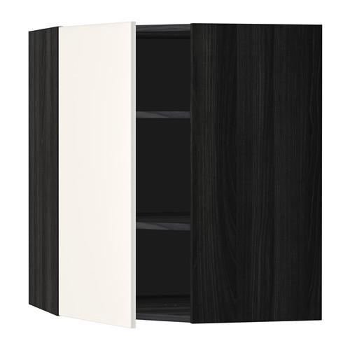 МЕТОД Угловой навесной шкаф с полками - 68x80 см, Веддинге белый, под дерево черный
