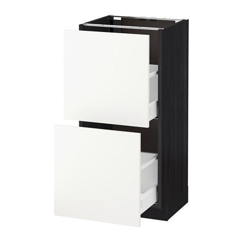 МЕТОД / МАКСИМЕРА Напольный шкаф с 2 ящиками - 40x37 см, Хэггеби белый, под дерево черный