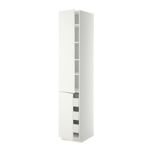 МЕТОД / МАКСИМЕРА Высокий шкаф+полки/3 ящика/2 дверцы - белый, Хэггеби белый, 40x60x220 см