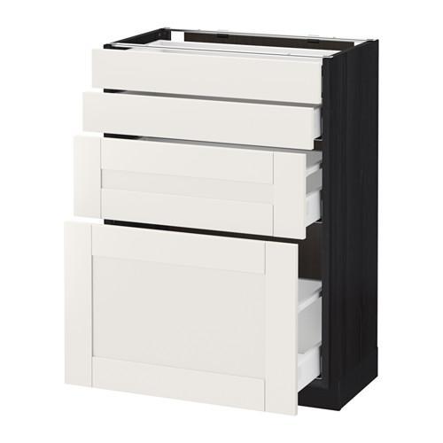 МЕТОД / МАКСИМЕРА Напольн шкаф 4 фронт панели/4 ящика - 60x37 см, Сэведаль белый, под дерево черный