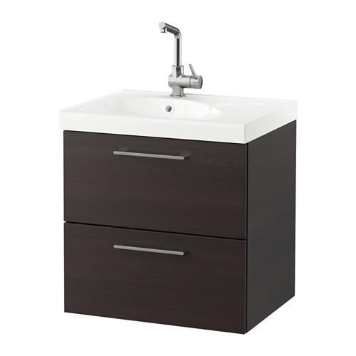 GODMORGON / EDEBOVIKEN cabinet sinks with 2 drawers - black-brown