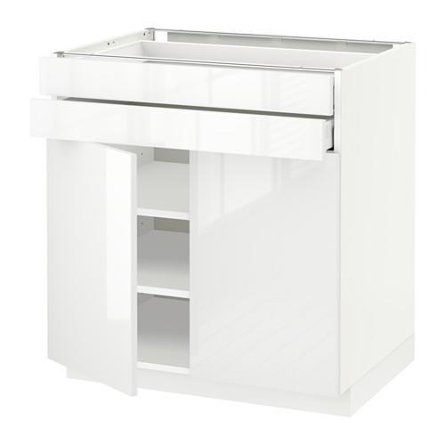 МЕТОД / МАКСИМЕРА Напольный шкаф/2дверцы/2ящика - 80x60 см, Рингульт глянцевый белый, белый