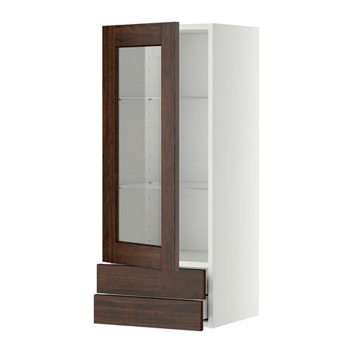 МЕТОД / МАКСИМЕРА Навесной шкаф/стекл дверца/2 ящика - 40x100 см, Эдсерум под дерево коричневый, белый