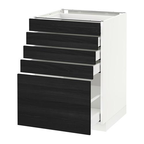 МЕТОД / МАКСИМЕРА Напольный шкаф с 5 ящиками - 60x60 см, Тингсрид под дерево черный, белый