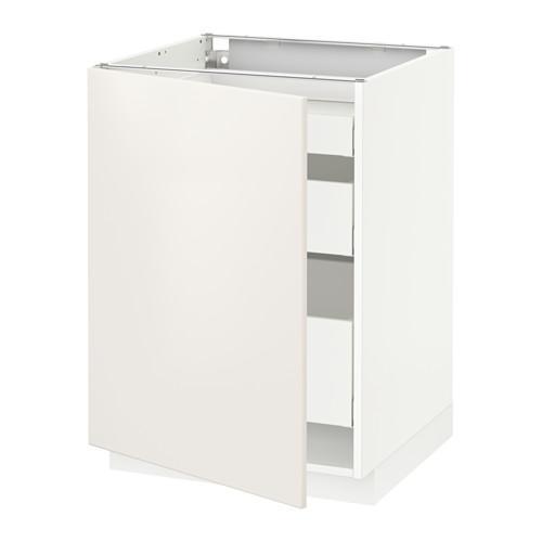 МЕТОД / МАКСИМЕРА Напольный шкаф с 1двр/3ящ - 60x60 см, Веддинге белый, белый